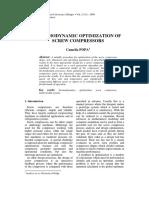 Thermodynamic Optimization of Screw Compressors