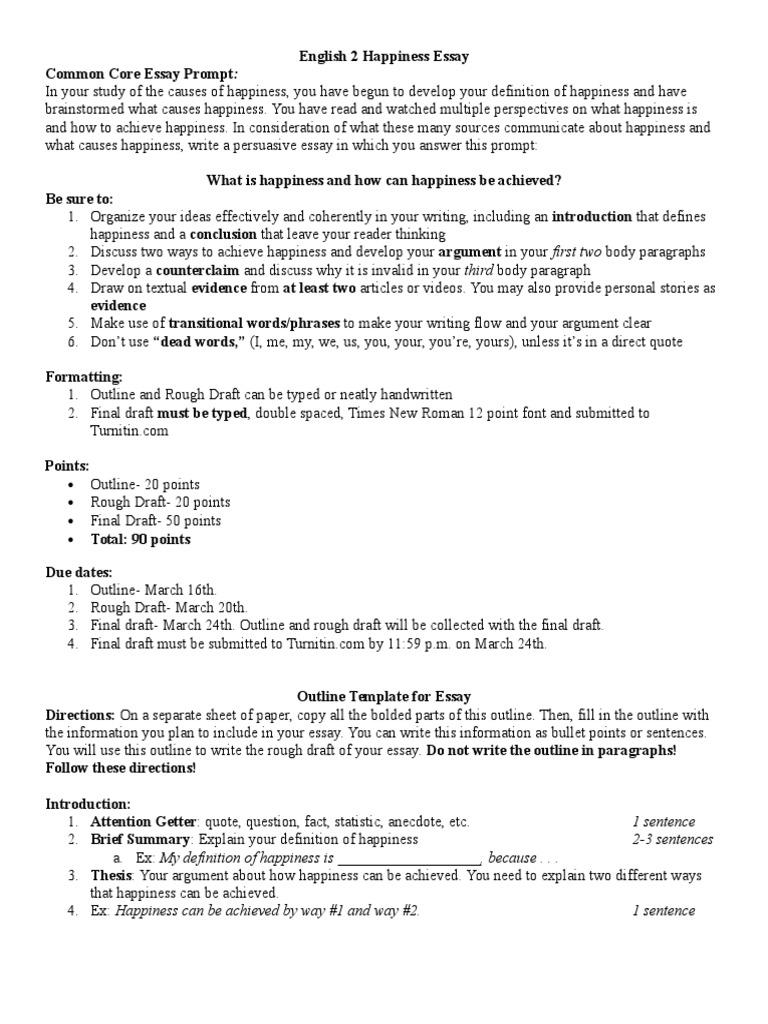 English 2 Happiness Essay | Essays | Argument