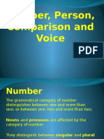 Number, Person, Comparison and Voice