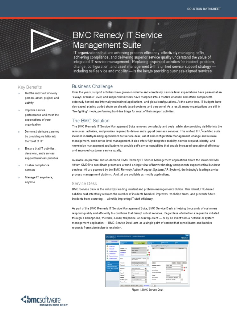 75220044 BMC Remedy IT Service Management Suite.pdf | Itil | Software As A  Service