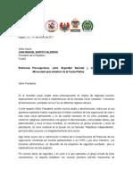 Carta Militares en Retiro a Santos