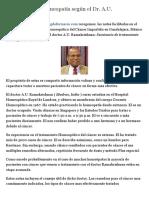 El cancer en la homeopatía según el Dr. A.U. Ramakrishnan - Blog de farmacia
