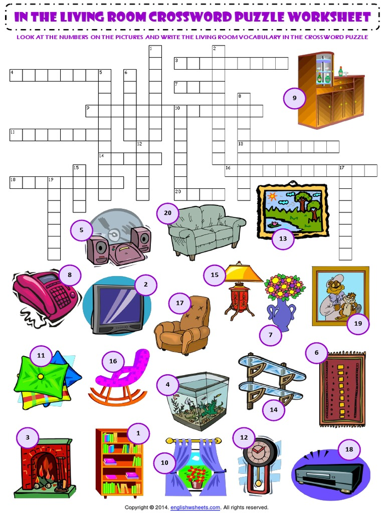 In the Living Room Esl Vocabulary Criss Cross Crossword Puzzle Worksheet