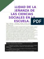 Finalidad de La Enseñanza de Las Ciencias Sociales en La Escuela