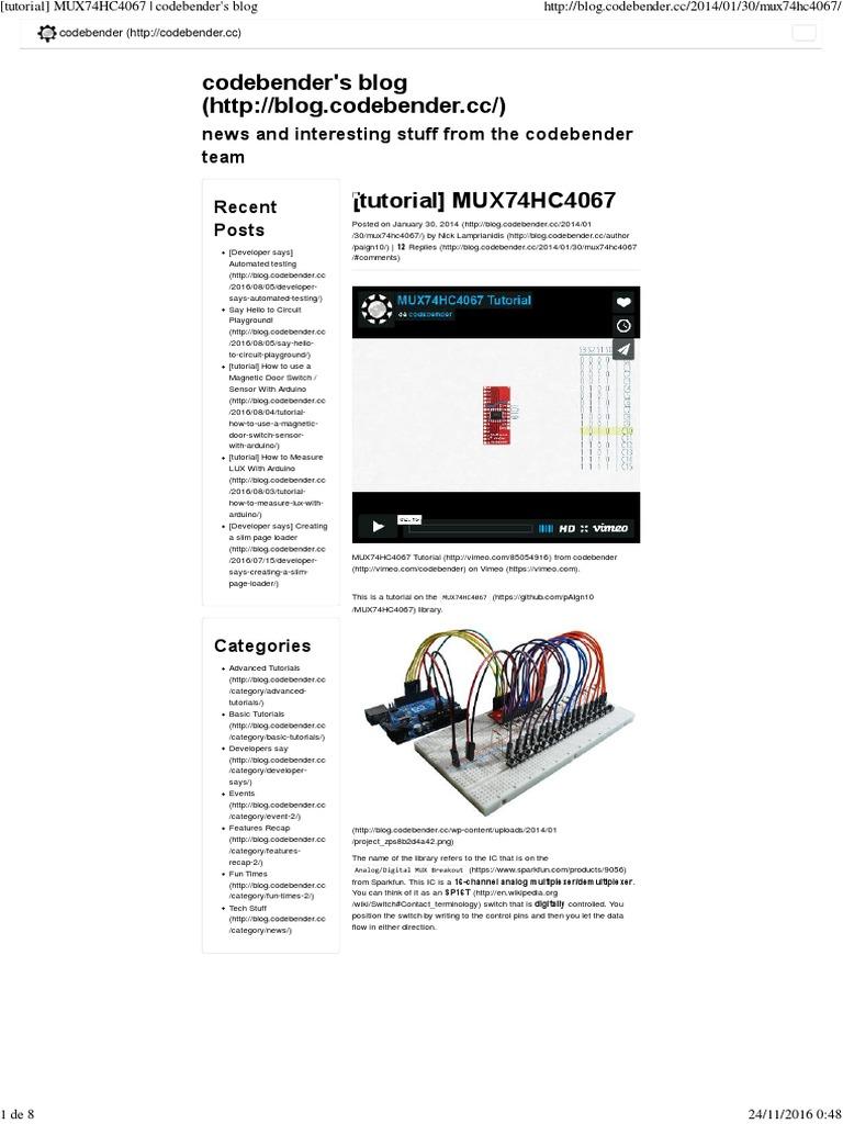MUX74HC4067 - Codebender | Arduino | Redes sociais