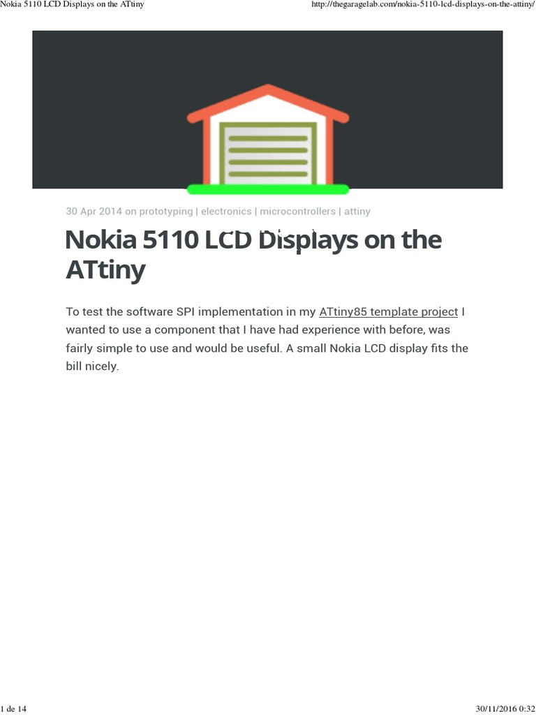 Nokia 5110 LCD Displays on the ATtiny | Pixel | Liquid Crystal Display