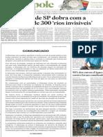 """Hidrografia de SP dobra com a descoberta de 300 """"rios invisíveis"""""""