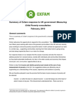 Summary of Oxfam response to UK government Measuring Child Poverty consultation
