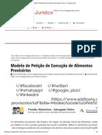 Modelo de Petição de Execução de Alimentos Provisórios - MegaJuridico