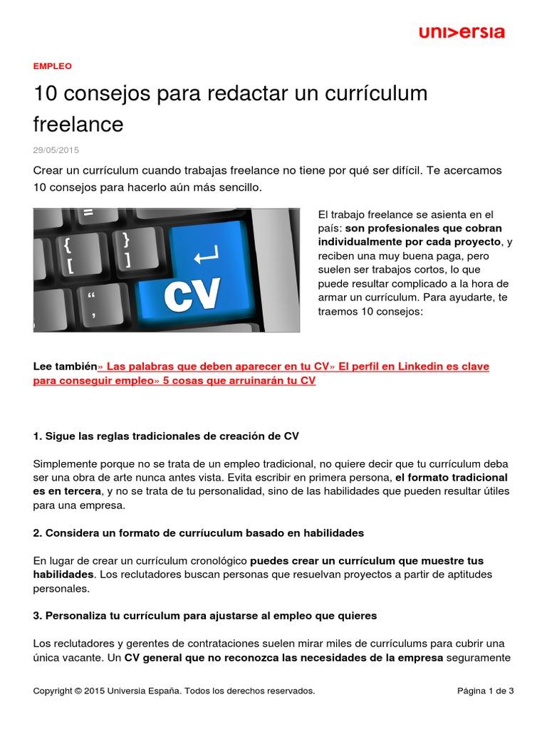 10 Consejos Redactar Curriculum Freelance
