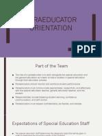 paraeducator orientation