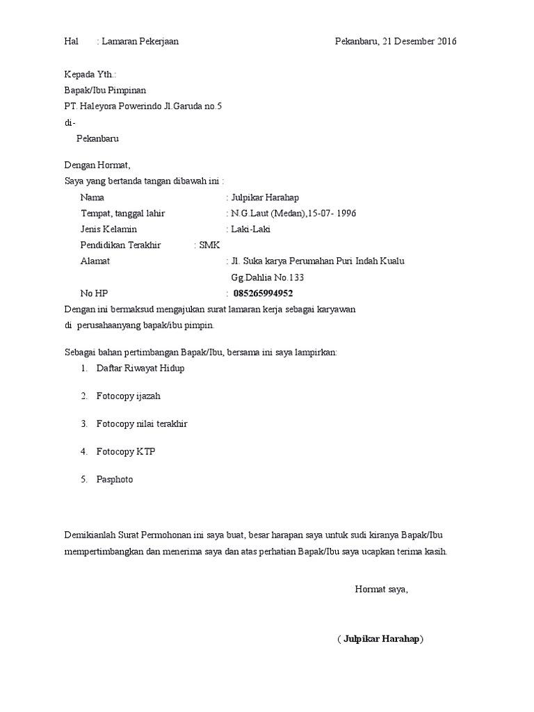 Contoh Surat Lamaran Kerja Pt Haleyora Contoh Lif Co Id