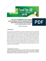 The role of smallholder farm organizations in the promotion of Good Agricultural Practice (GAP), agricultural extension and communications – a view from the private sector