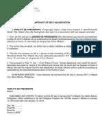 Affidavit of Sole Adjudication