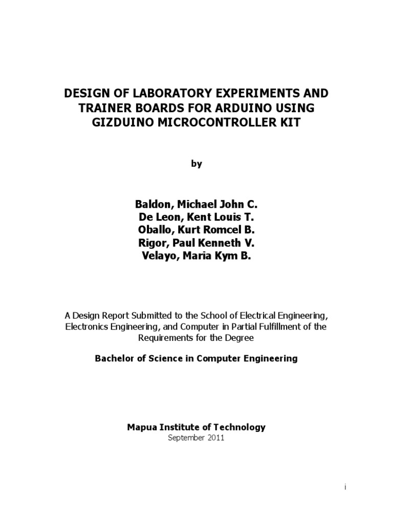 Design of Laboratory Experiments and Trainer Boards for Arduino