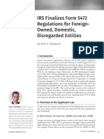 IRS Finalizes Form 5472 Regulations for ForeignOwned, Domestic, Disregarded Entities