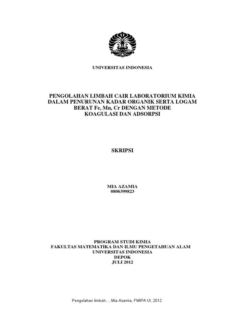 Skripsi Mia Azamia Fmipa Ui 2012 Ttg Pengolahan Limbah Cair Lab Pdf