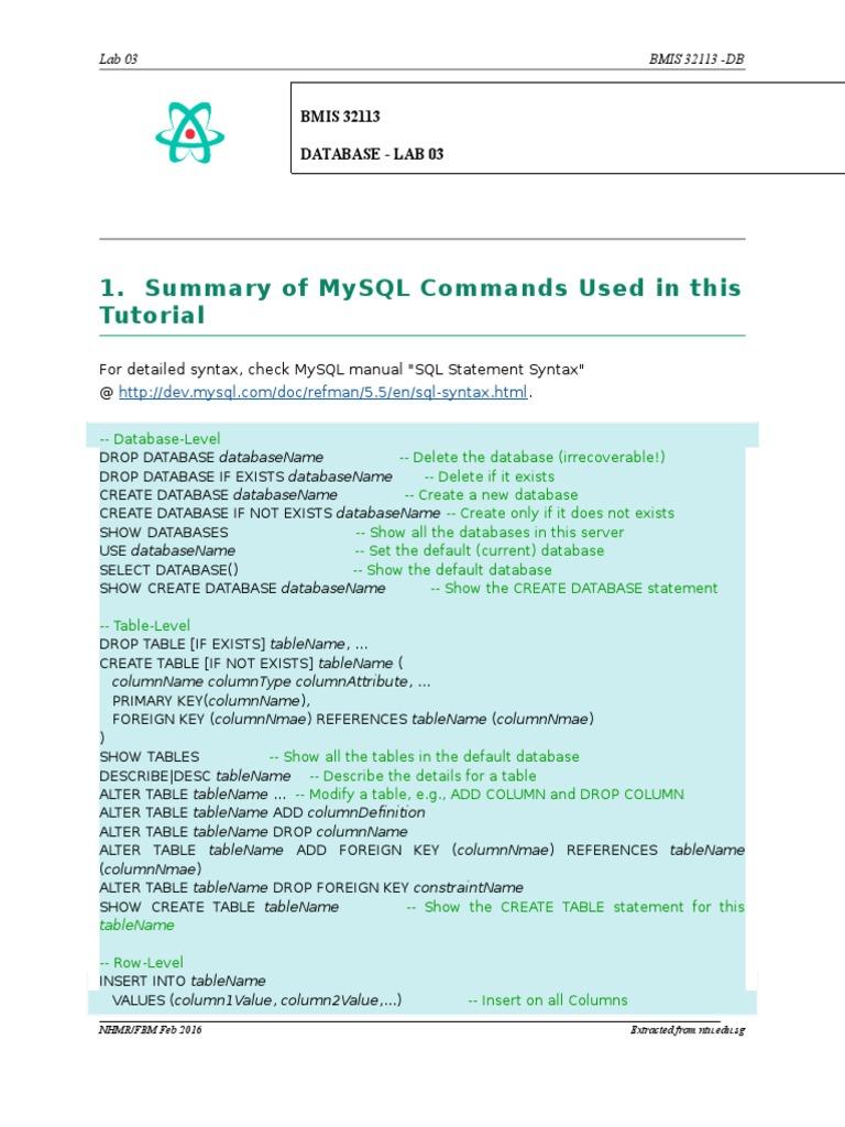 Db Lab 03 Mysql By Examples Databases Information Retrieval