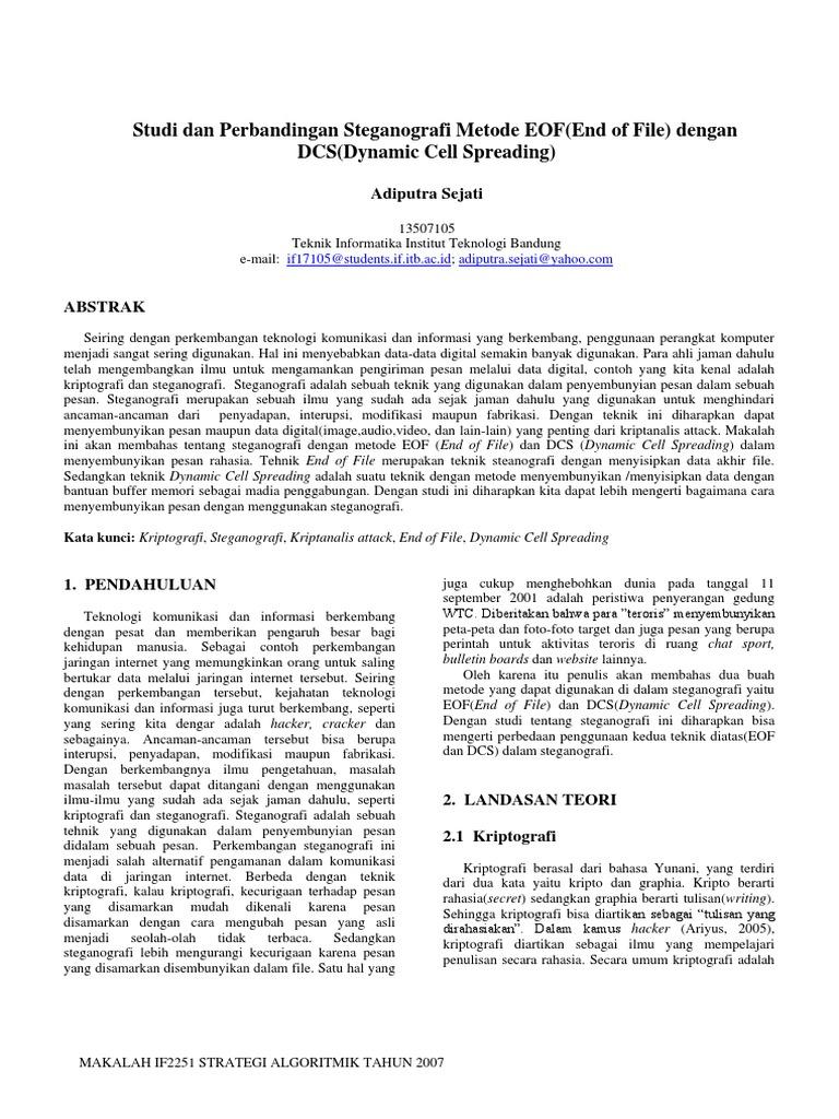 Studi Dan Perbandingan Steganografi Metode Eof End Of File Dengan