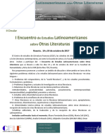 Encuentro de Estudios Latinoamericanos Sobre Otras Literaturas- II Circular Final