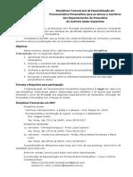 Disciplinas Transversais Especialização em Psicossomática Psicanalítica 2017