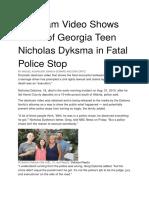 Dashcam Video Shows Death of Georgia Teen Nicholas Dyksma in Fatal Police Stop