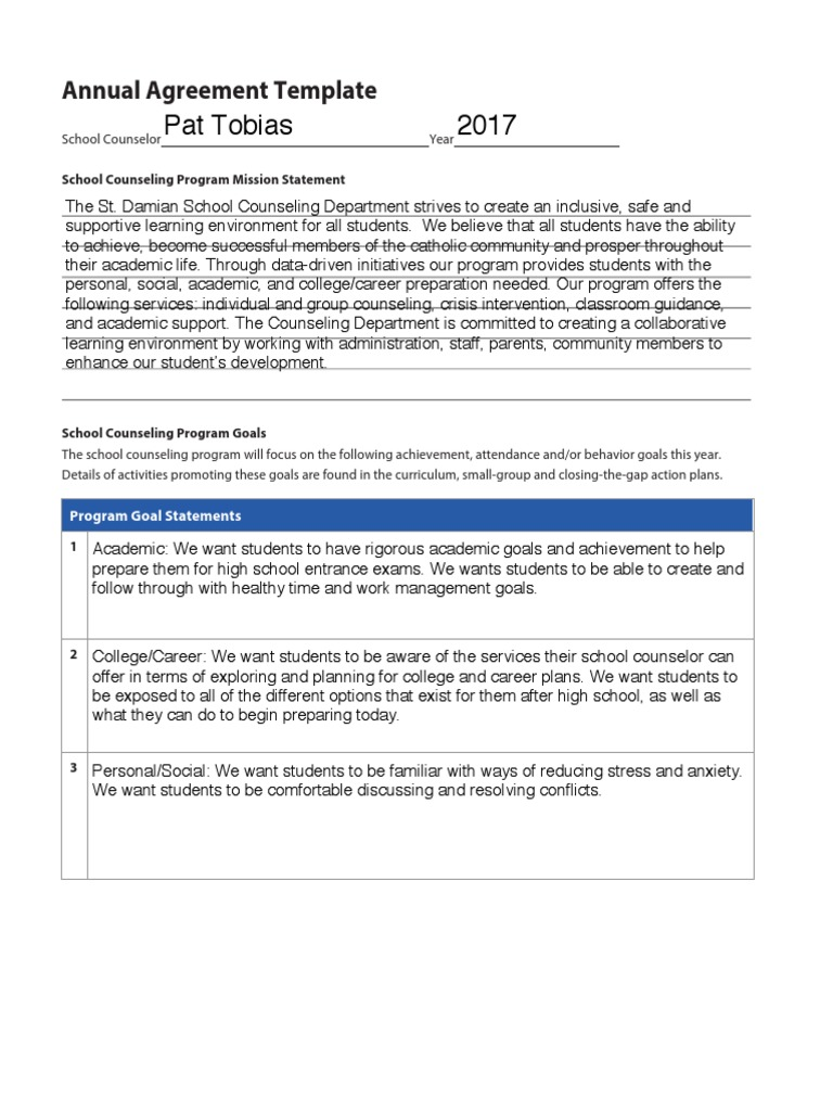Annual Agreement School Counselor Applied Psychology