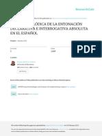 La Línea Melódica de La Entonación Declarativa e Interrogativa en Español