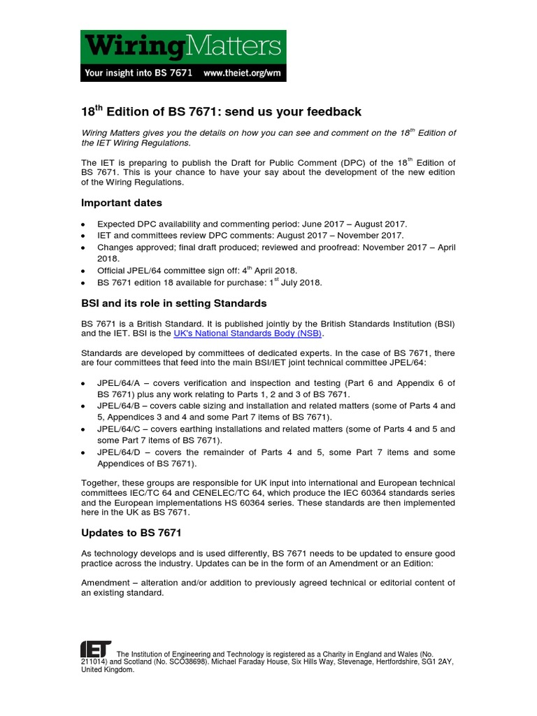 18th Edition Of Bs 7671 Send Us Your Feedback1 Technology Science Bs7671 Wiring Regulations