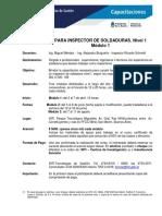 Programa Del Curso Para Inspector de Soldadura, Modulo 1-InTI