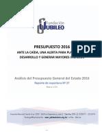 Analisis Presupuesto 2016 F Jubileo-1