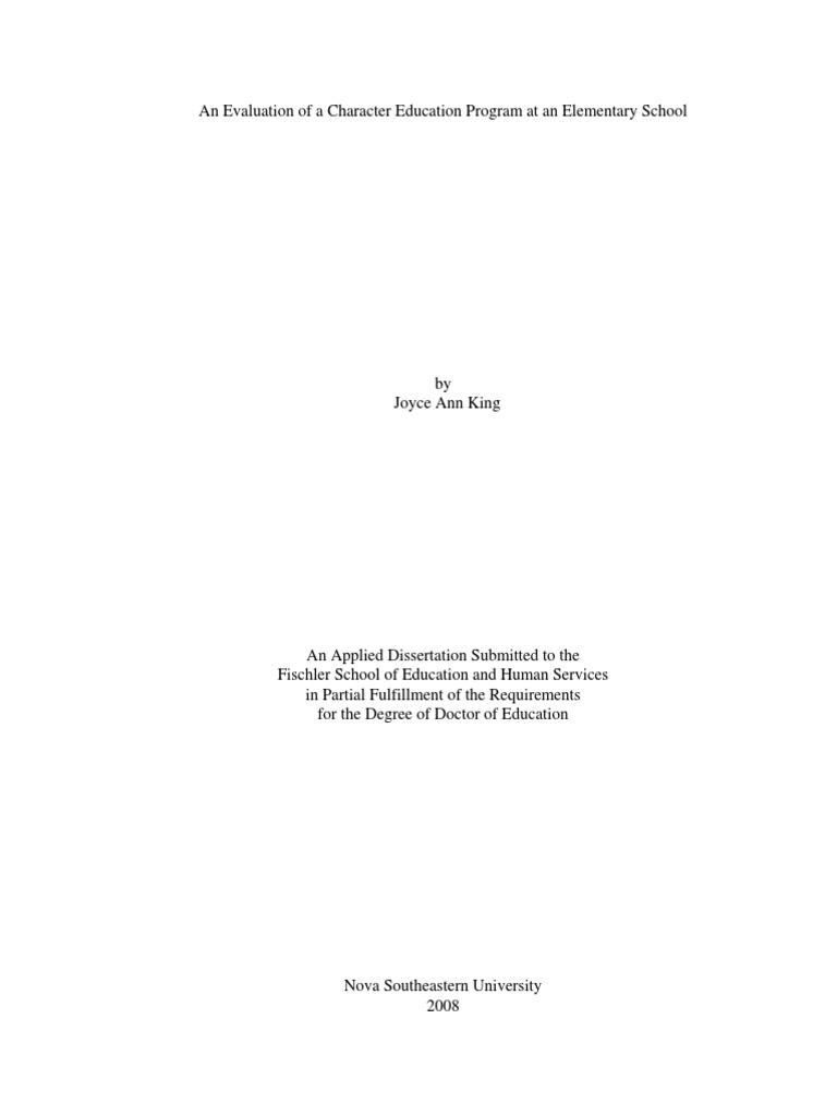 Dissertation program evaluation