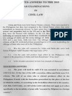Suggested Bar Questions and Answers for Civil Law Bar Exam of 2015