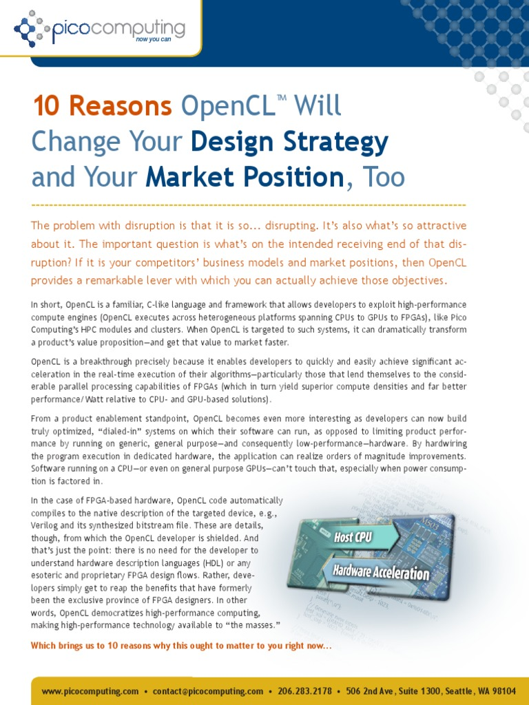 10 Reason Opencl Will Change Your Design Strategy And Your Market Position Too Pdf Field Programmable Gate Array Parallel Computing
