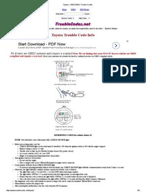 Toyota – OBD_OBD2 Trouble Codes | Throttle | Toyota