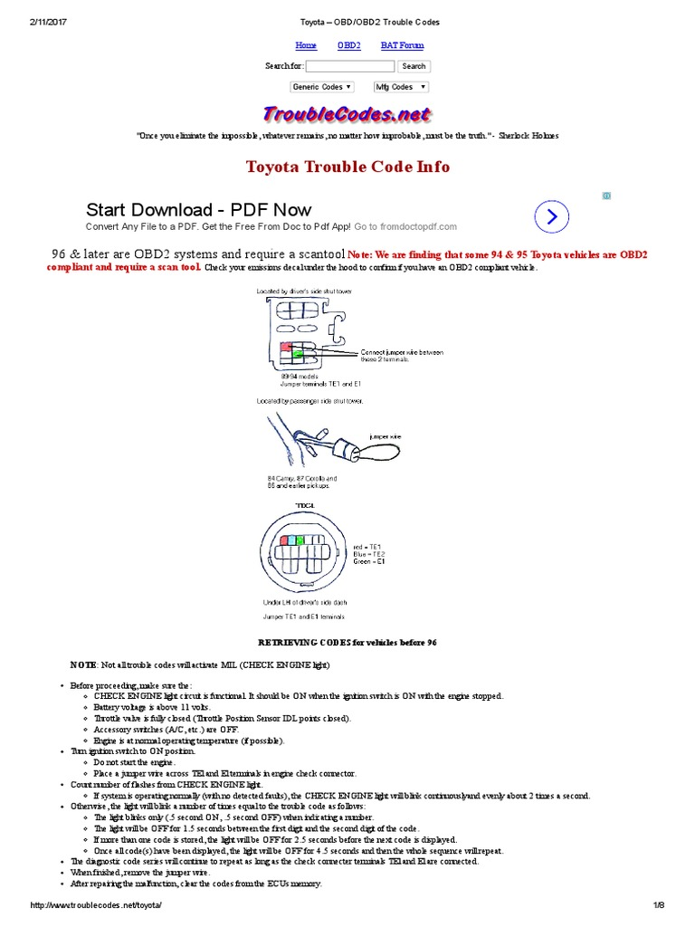 Toyota – OBD_OBD2 Trouble Codes | Throttle | Toyota