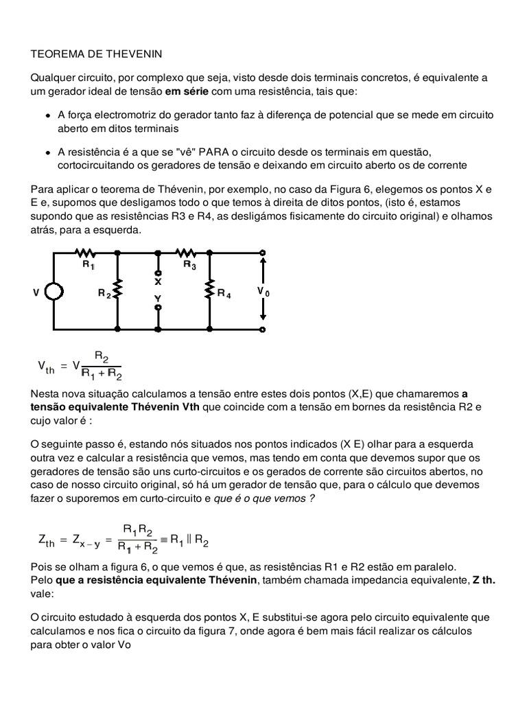 Circuito Aberto : Teorema de thevenin e teorema de norton