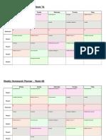 1. Homework Timetable