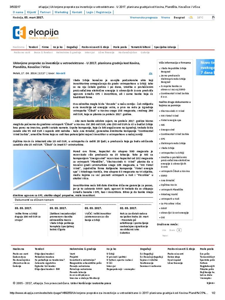Ekapija Uklonjene Prepreke Za Investicije U Vetroelektrane