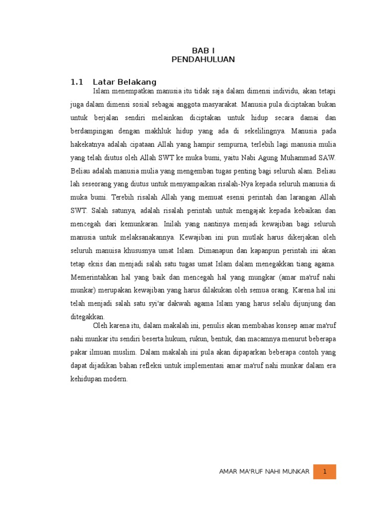 Makalah Amar Ma Ruf Nahi Munkar Dalam Prespektif Al Quran Dan Hadits
