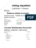 The Account and Balance Sheet and Income Statement Accounts