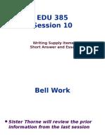 EDU 385 - Session 10 Writing Supply Items