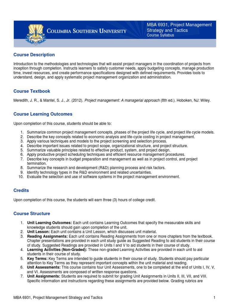 Per Course Project Management Rubric Academic