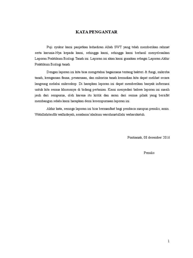 Contoh Kata Pengantar Laporan Praktikum Biologi Kumpulan Contoh Laporan