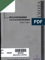 Etienne Balibar, Spinoza, De La Individualidad a La Transindividualidad