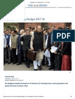 Highlights of Union Budget 2017-18 - The Hindu