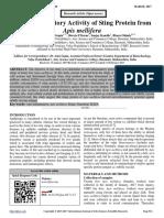 Anti-inflammatory Activity of Sting Protein from Apis mellifera