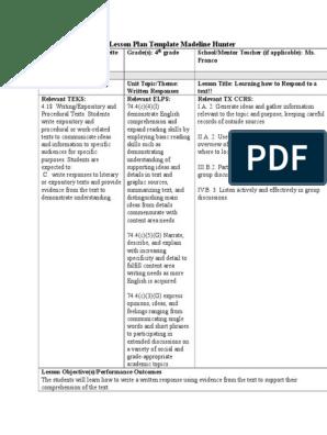 Madeline Hunter Lesson Plan Template from imgv2-1-f.scribdassets.com