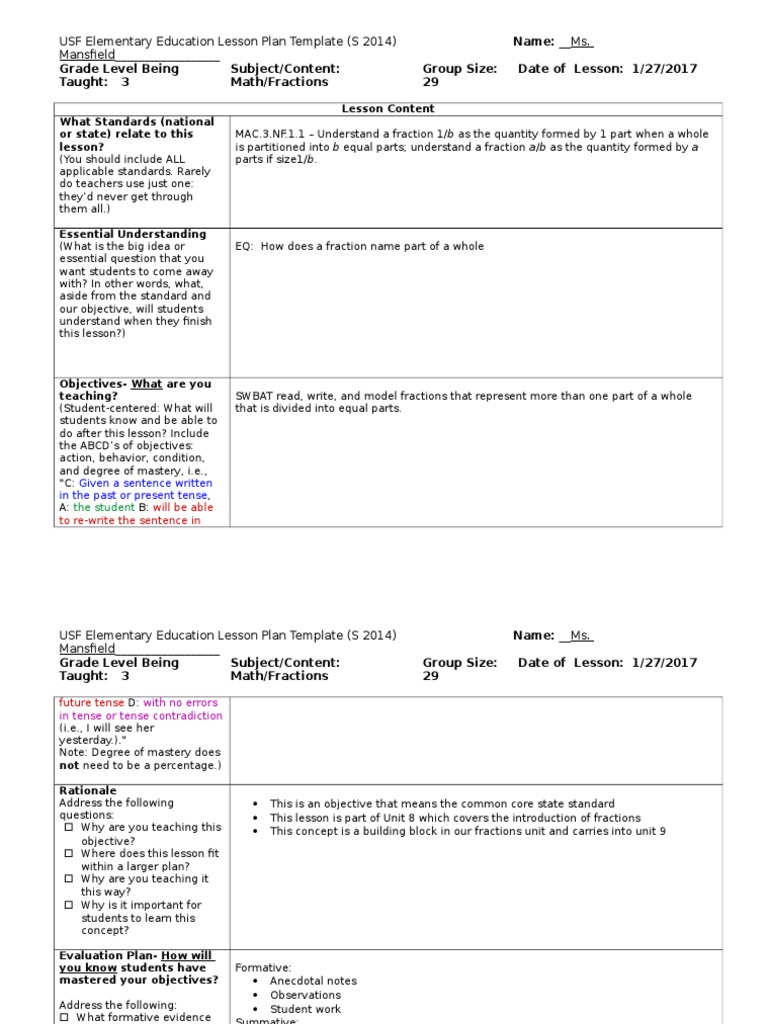 Ct Obvs Lesson Plan Level Lesson Plan Quality Of Life - One subject lesson plan template