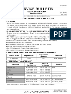 Service Bulletin: Fuel Injection Pump